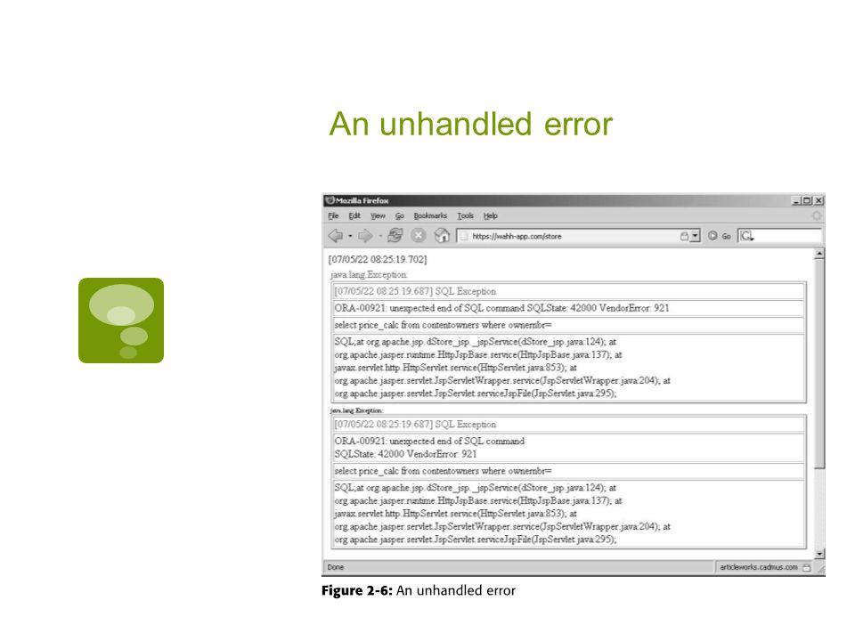 An unhandled error
