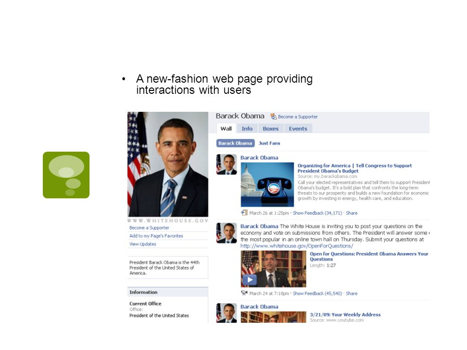 A new-fashion web page providing interactions with users