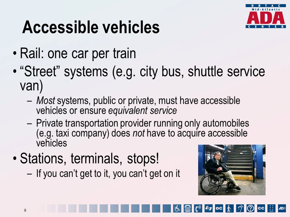 "Accessible vehicles Rail: one car per train ""Street"" systems (e.g. city bus, shuttle service van) – Most systems, public or private, must have accessi"