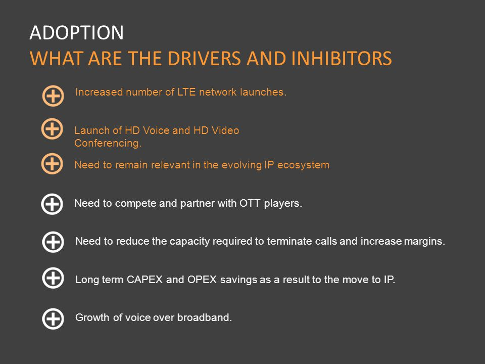 There is still confusion in the industry of what IPX is and its benefits ADOPTION WHAT ARE THE DRIVERS AND INHIBITORS Desire to interconnect directly with their major traffic partners.