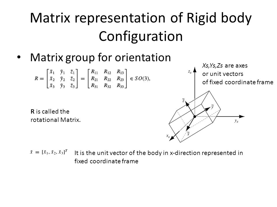 Matrix representation of Rigid body Configuration Matrix group for orientation R is called the rotational Matrix.