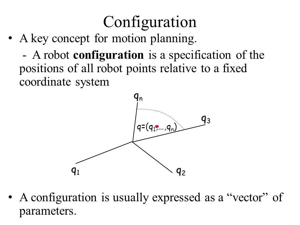Configuration A key concept for motion planning. - A robot configuration is a specification of the positions of all robot points relative to a fixed c