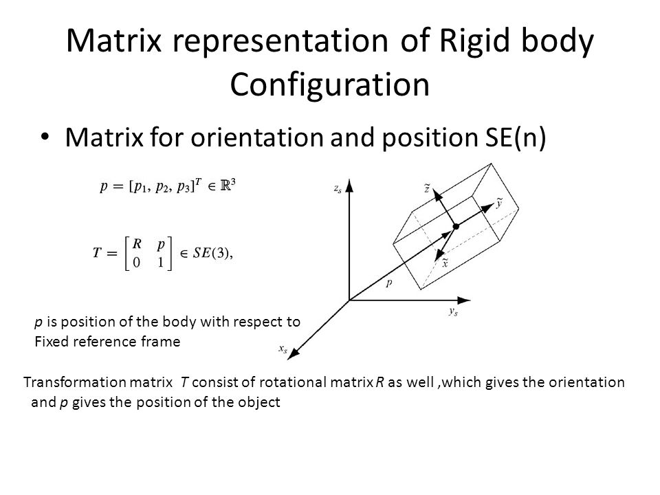 Matrix representation of Rigid body Configuration Matrix for orientation and position SE(n) p is position of the body with respect to Fixed reference frame Transformation matrix T consist of rotational matrix R as well,which gives the orientation and p gives the position of the object