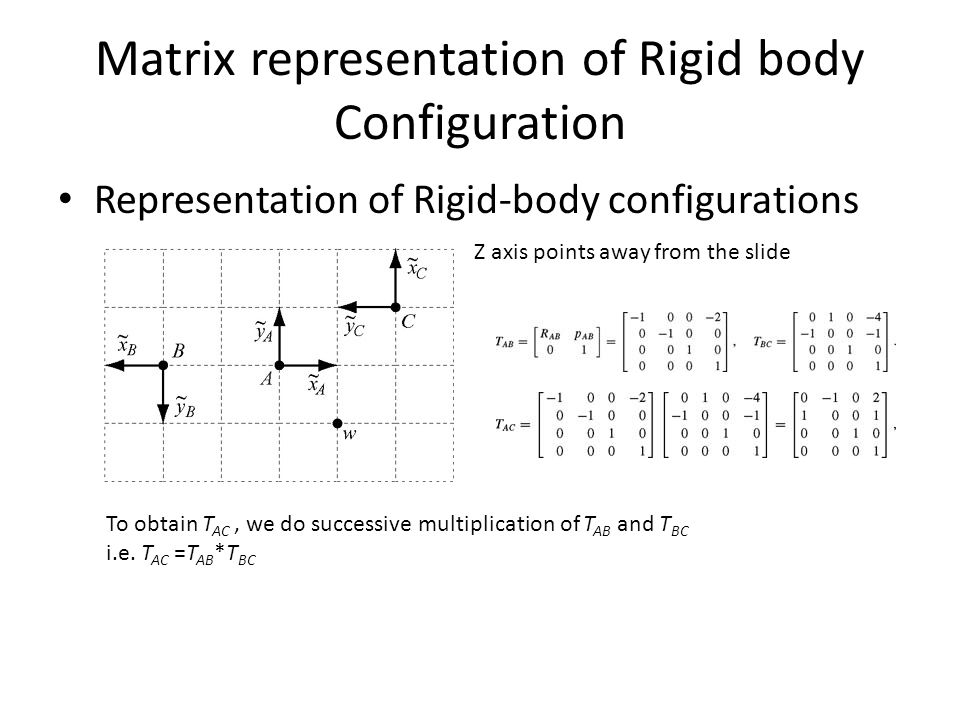 Matrix representation of Rigid body Configuration Representation of Rigid-body configurations To obtain T AC, we do successive multiplication of T AB and T BC i.e.