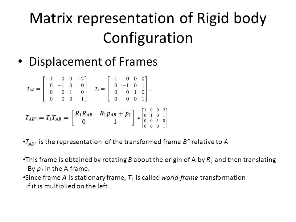 "Matrix representation of Rigid body Configuration Displacement of Frames T AB"" is the representation of the transformed frame B"" relative to A This fr"