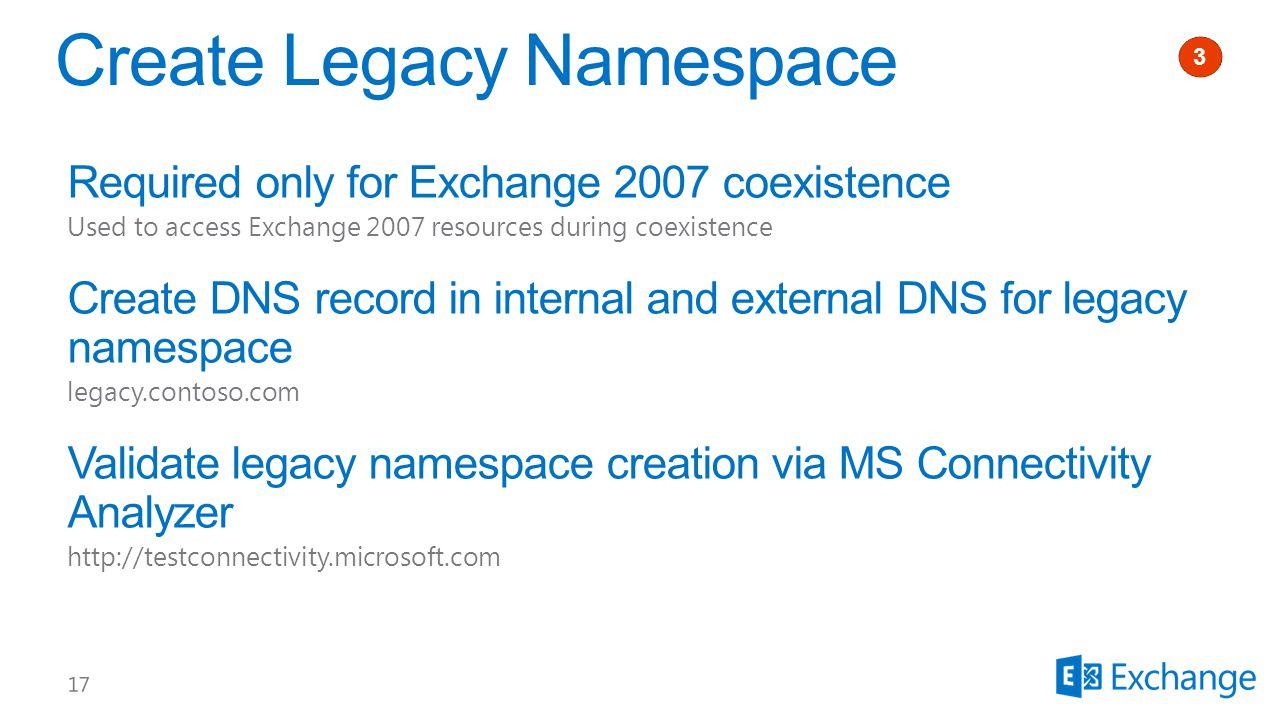 Create Legacy Namespace 1 3
