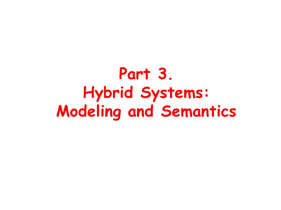 Part 3. Hybrid Systems: Modeling and Semantics