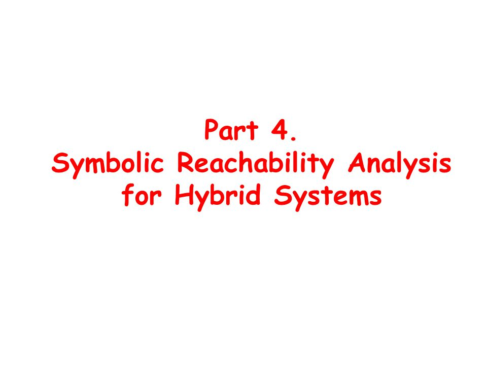 Part 4. Symbolic Reachability Analysis for Hybrid Systems