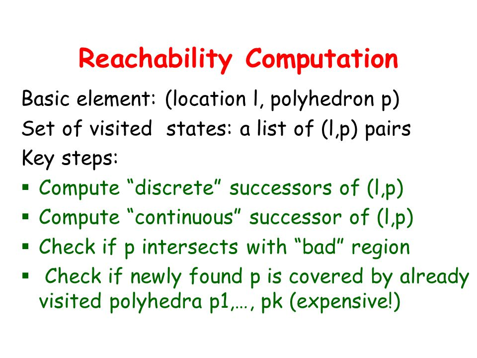Reachability Computation Basic element: (location l, polyhedron p) Set of visited states: a list of (l,p) pairs Key steps:  Compute discrete successors of (l,p)  Compute continuous successor of (l,p)  Check if p intersects with bad region  Check if newly found p is covered by already visited polyhedra p1,…, pk (expensive!)