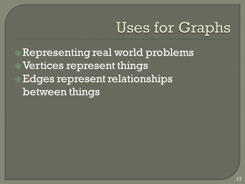  Representing real world problems  Vertices represent things  Edges represent relationships between things 17