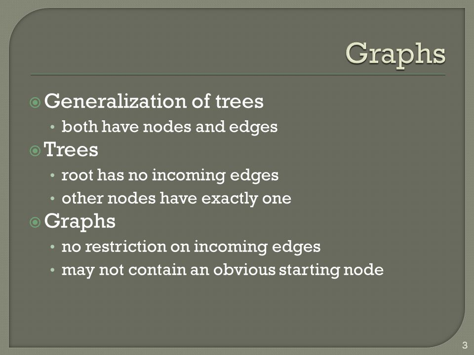  Generalization of trees both have nodes and edges  Trees root has no incoming edges other nodes have exactly one  Graphs no restriction on incomin