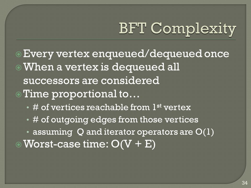  Every vertex enqueued/dequeued once  When a vertex is dequeued all successors are considered  Time proportional to… # of vertices reachable from 1