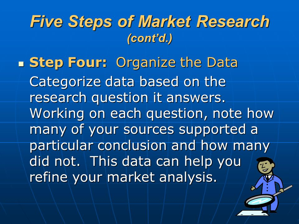 Five Steps of Market Research (cont'd.) Step Four: Organize the Data Step Four: Organize the Data Categorize data based on the research question it an