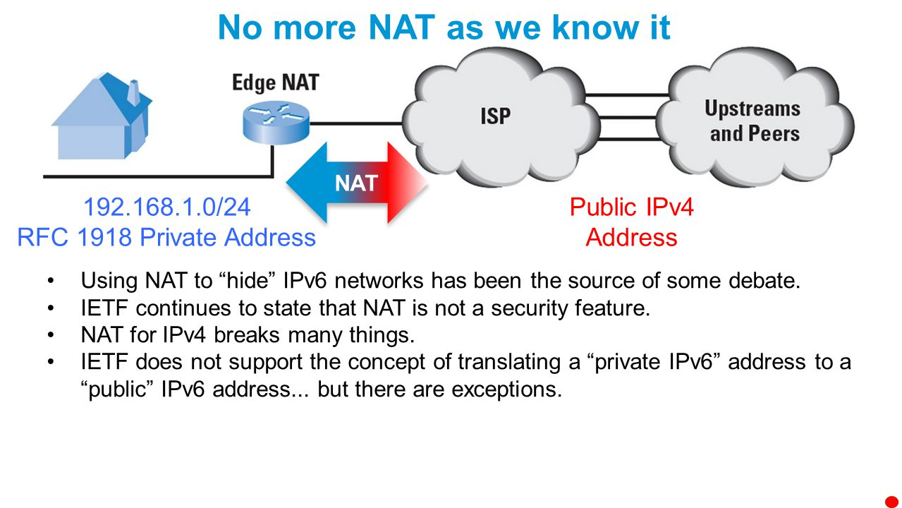 Benefits of IPv6 Larger address space Stateless autoconfiguration End-to-end reachability without private addresses and NAT Better mobility support Peer-to-peer networking easier to create and maintain, and services such as VoIP and Quality of Service (QoS) become more robust.