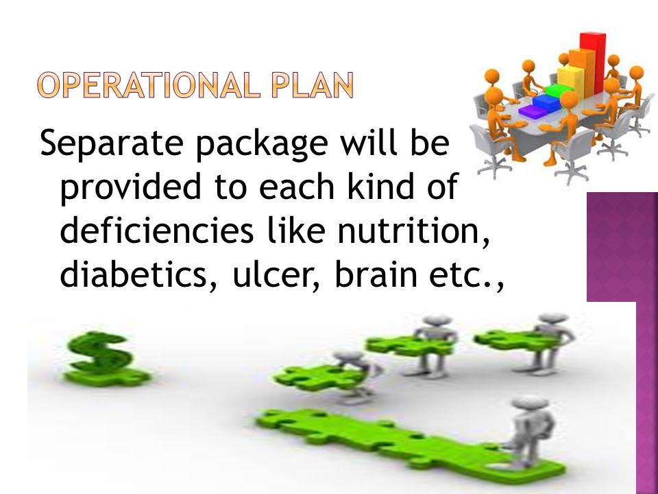 Separate package will be provided to each kind of deficiencies like nutrition, diabetics, ulcer, brain etc.,