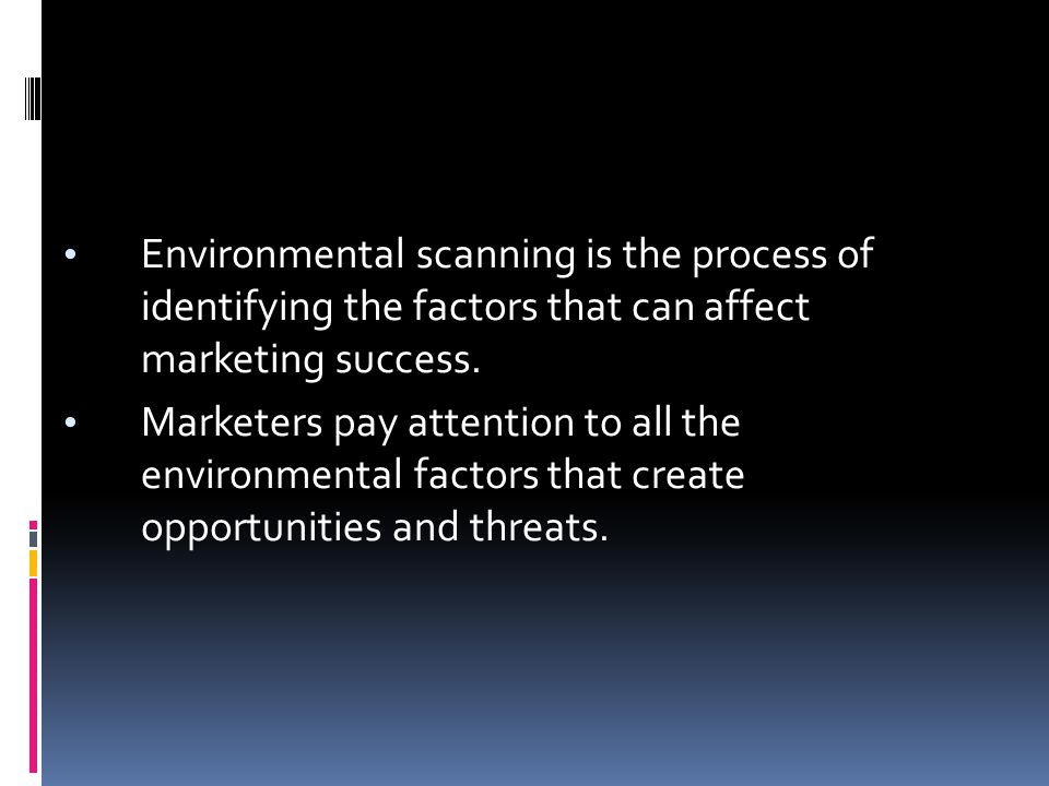 Environmental scanning is the process of identifying the factors that can affect marketing success.