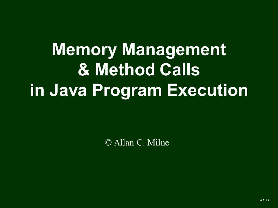 Memory Management & Method Calls in Java Program Execution © Allan C. Milne v15.3.1