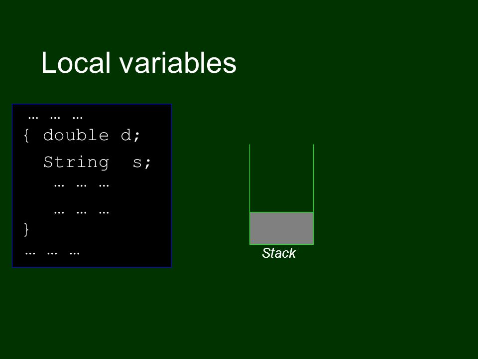 Local variables … … … { double d; String s; Stack … … … }
