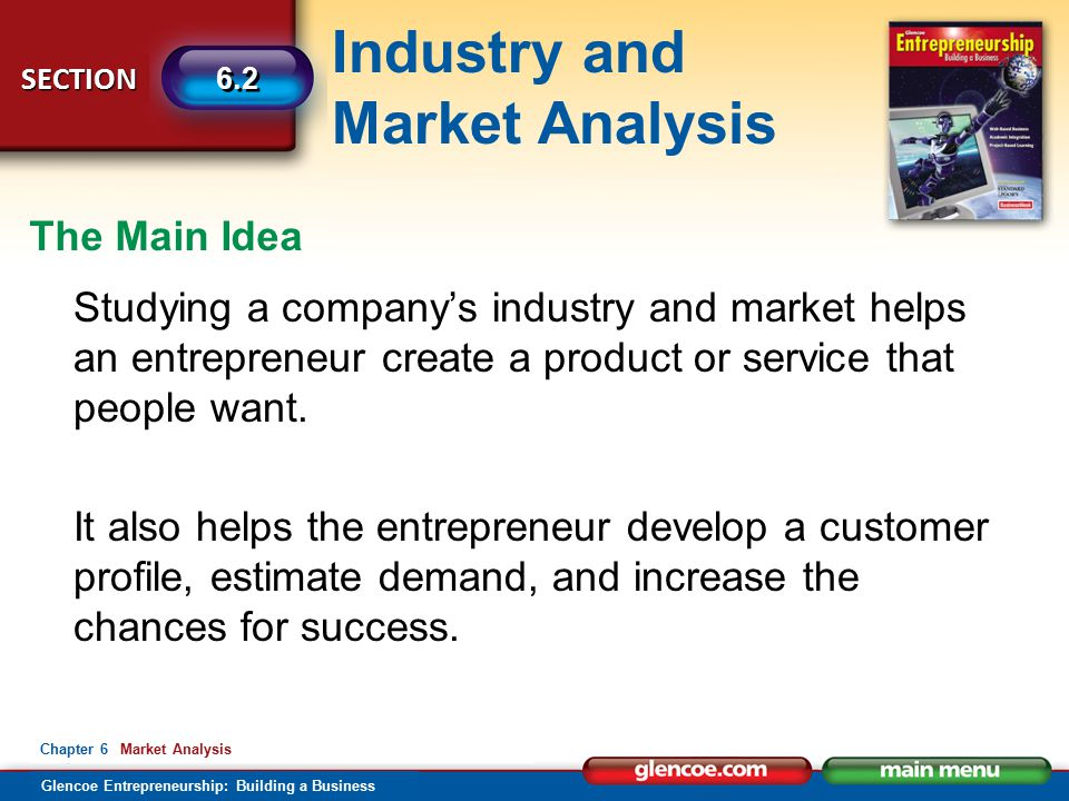 Industry and Market Analysis Glencoe Entrepreneurship: Building a Business SECTION 6.2 Chapter 6 Market Analysis Studying a company's industry and market helps an entrepreneur create a product or service that people want.