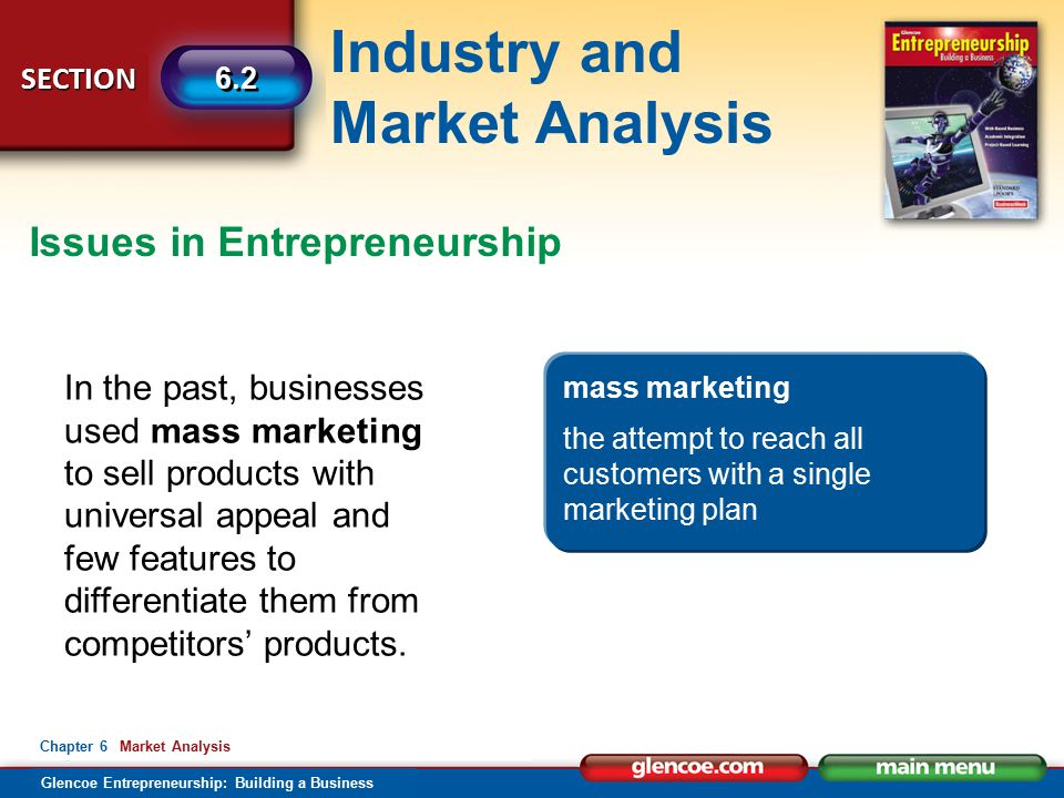 Industry and Market Analysis Glencoe Entrepreneurship: Building a Business SECTION 6.2 Chapter 6 Market Analysis Issues in Entrepreneurship In the past, businesses used mass marketing to sell products with universal appeal and few features to differentiate them from competitors' products.