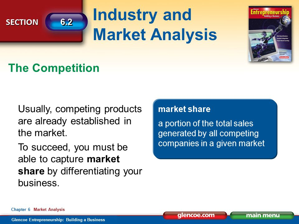 Industry and Market Analysis Glencoe Entrepreneurship: Building a Business SECTION 6.2 Chapter 6 Market Analysis The Competition Usually, competing products are already established in the market.