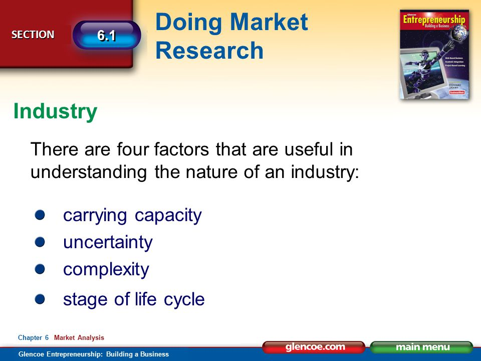 Glencoe Entrepreneurship: Building a Business Doing Market Research SECTION SECTION 6.1 Chapter 6 Market Analysis There are four factors that are useful in understanding the nature of an industry: carrying capacity uncertainty complexity stage of life cycle Industry