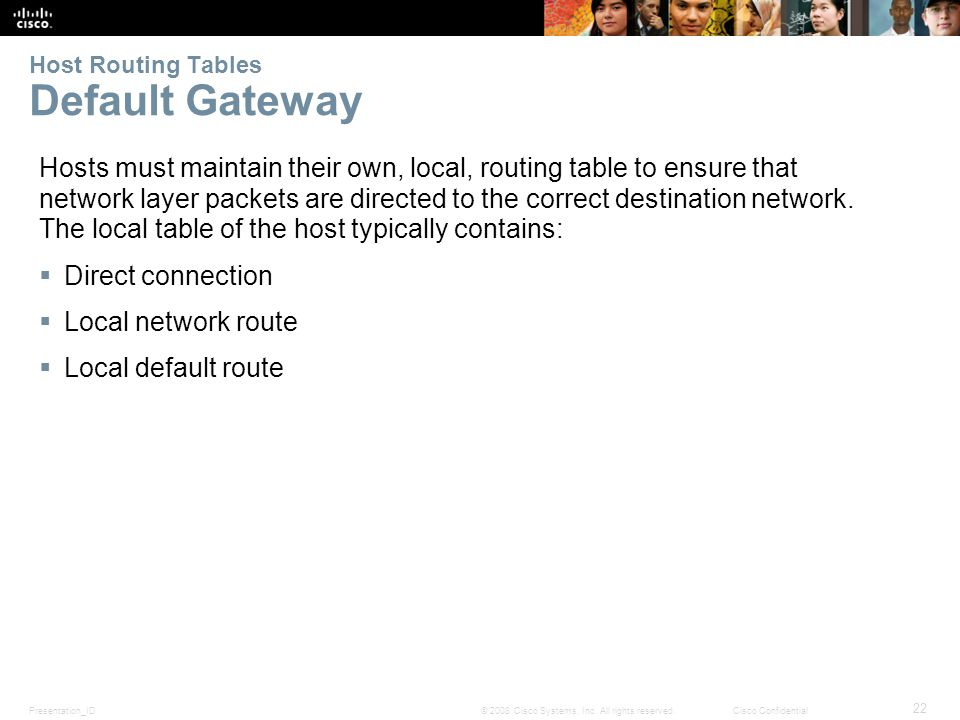 Presentation_ID 22 © 2008 Cisco Systems, Inc. All rights reserved.Cisco Confidential Host Routing Tables Default Gateway Hosts must maintain their own