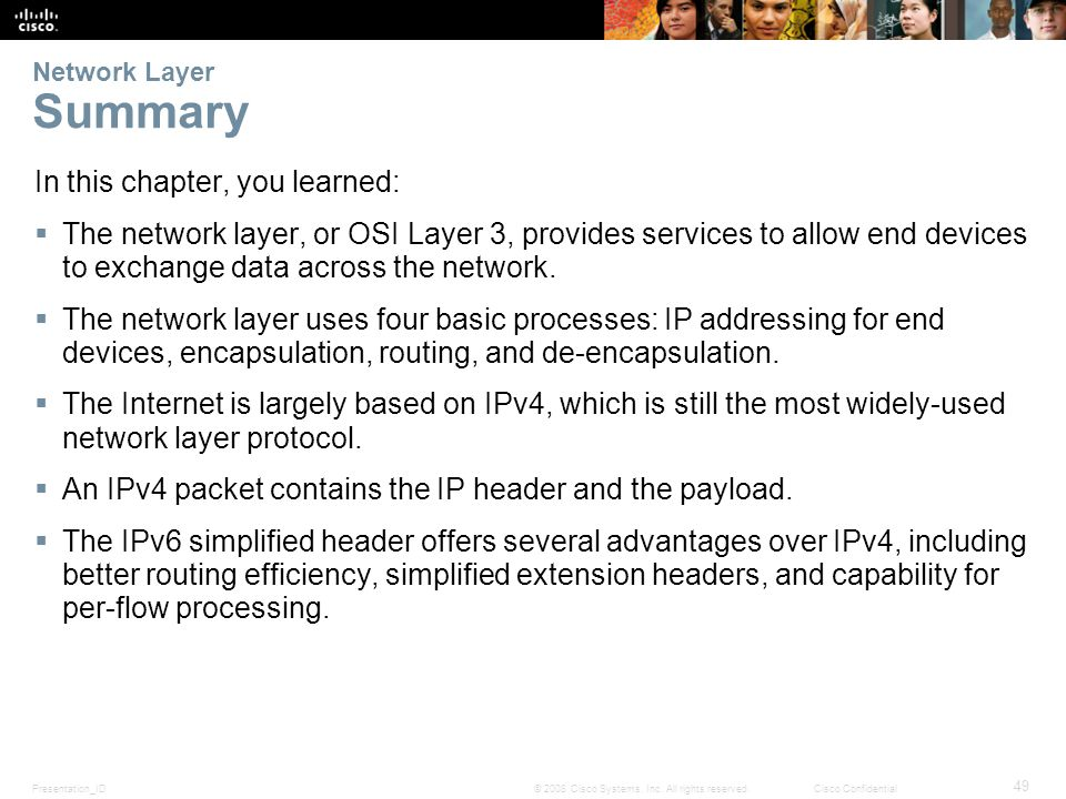 Presentation_ID 49 © 2008 Cisco Systems, Inc. All rights reserved.Cisco Confidential Network Layer Summary In this chapter, you learned:  The network