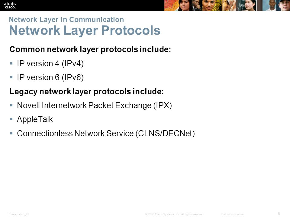 Presentation_ID 6 © 2008 Cisco Systems, Inc. All rights reserved.Cisco Confidential Network Layer in Communication Network Layer Protocols Common netw