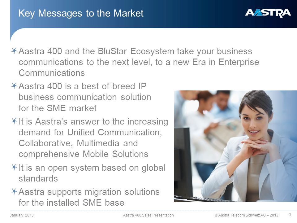 © Aastra Telecom Schweiz AG – 2013 Aastra 400 and the BluStar Ecosystem take your business communications to the next level, to a new Era in Enterprise Communications Aastra 400 is a best-of-breed IP business communication solution for the SME market It is Aastra's answer to the increasing demand for Unified Communication, Collaborative, Multimedia and comprehensive Mobile Solutions It is an open system based on global standards Aastra supports migration solutions for the installed SME base Key Messages to the Market January, 2013 Aastra 400 Sales Presentation 3