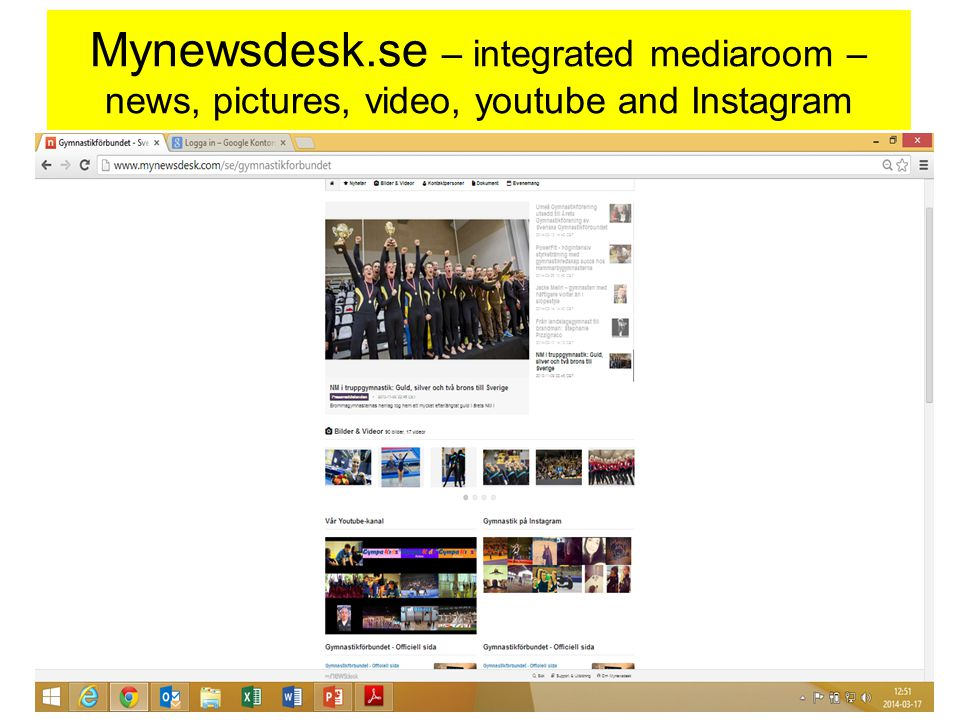 Mynewsdesk.se – integrated mediaroom – news, pictures, video, youtube and Instagram www.ueg-gymnastics.com - Mars 201118