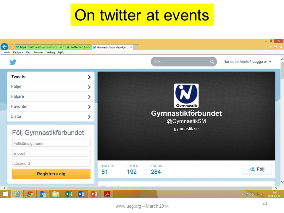 23 On twitter at events www.ueg.org – March 2014