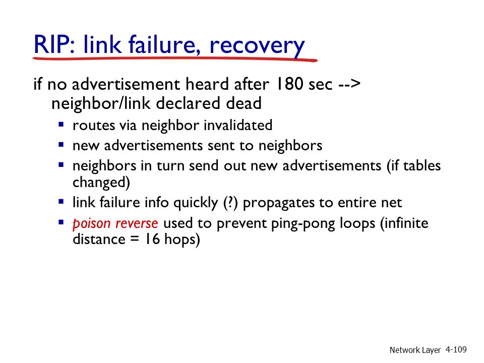 Network Layer 4-109 RIP: link failure, recovery if no advertisement heard after 180 sec --> neighbor/link declared dead  routes via neighbor invalidated  new advertisements sent to neighbors  neighbors in turn send out new advertisements (if tables changed)  link failure info quickly (?) propagates to entire net  poison reverse used to prevent ping-pong loops (infinite distance = 16 hops)