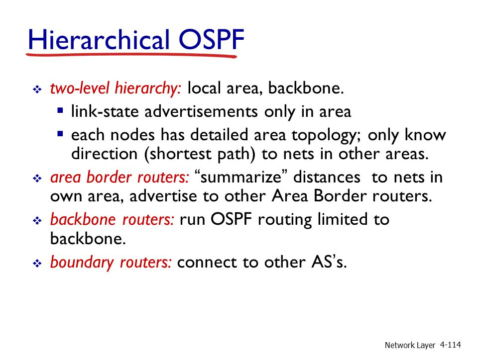 Network Layer 4-114  two-level hierarchy: local area, backbone.
