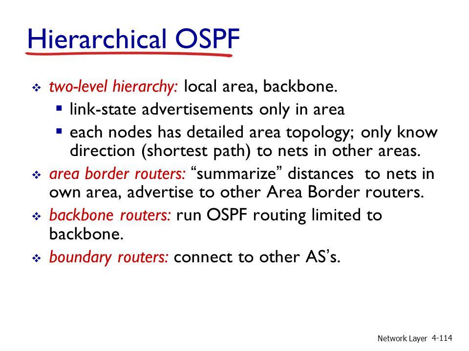Network Layer 4-114  two-level hierarchy: local area, backbone.