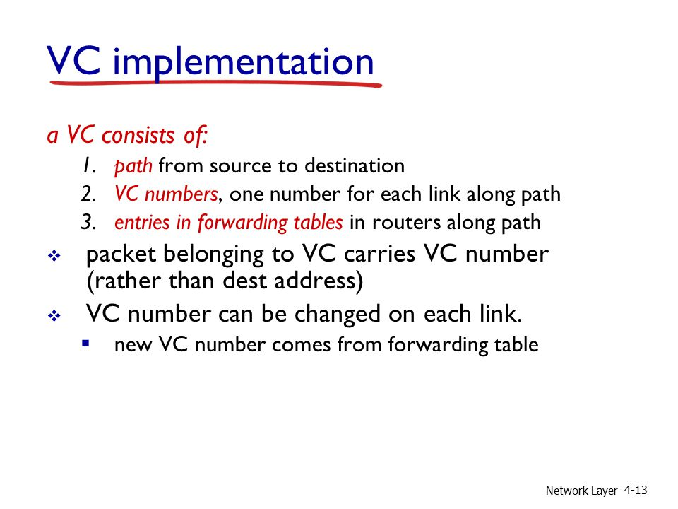 Network Layer 4-13 VC implementation a VC consists of: 1.path from source to destination 2.VC numbers, one number for each link along path 3.entries in forwarding tables in routers along path  packet belonging to VC carries VC number (rather than dest address)  VC number can be changed on each link.