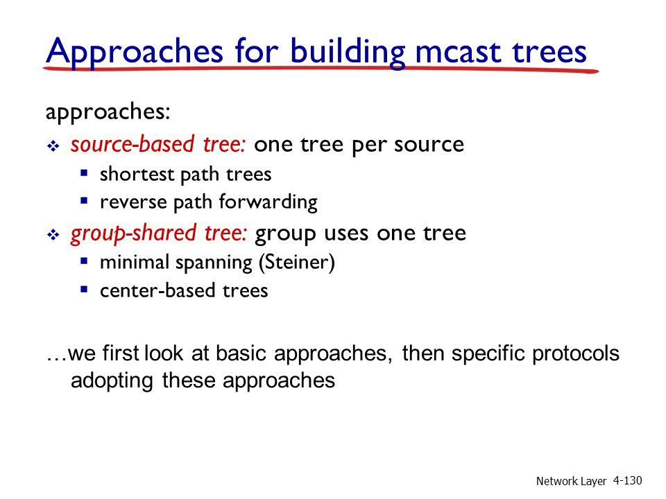 Network Layer 4-130 Approaches for building mcast trees approaches:  source-based tree: one tree per source  shortest path trees  reverse path forwarding  group-shared tree: group uses one tree  minimal spanning (Steiner)  center-based trees …we first look at basic approaches, then specific protocols adopting these approaches