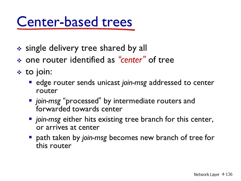 Network Layer 4-136 Center-based trees  single delivery tree shared by all  one router identified as center of tree  to join:  edge router sends unicast join-msg addressed to center router  join-msg processed by intermediate routers and forwarded towards center  join-msg either hits existing tree branch for this center, or arrives at center  path taken by join-msg becomes new branch of tree for this router