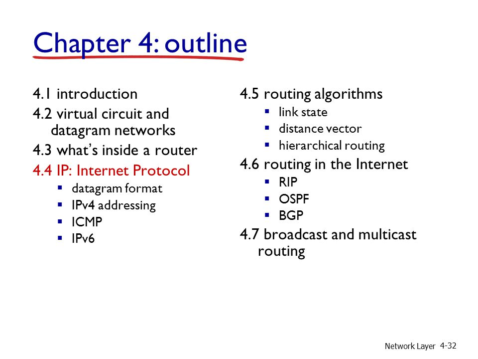 Network Layer 4-32 4.1 introduction 4.2 virtual circuit and datagram networks 4.3 what's inside a router 4.4 IP: Internet Protocol  datagram format  IPv4 addressing  ICMP  IPv6 4.5 routing algorithms  link state  distance vector  hierarchical routing 4.6 routing in the Internet  RIP  OSPF  BGP 4.7 broadcast and multicast routing Chapter 4: outline
