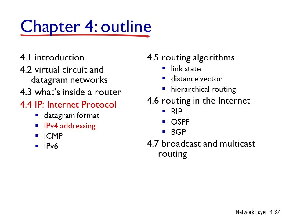 Network Layer 4-37 4.1 introduction 4.2 virtual circuit and datagram networks 4.3 what's inside a router 4.4 IP: Internet Protocol  datagram format  IPv4 addressing  ICMP  IPv6 4.5 routing algorithms  link state  distance vector  hierarchical routing 4.6 routing in the Internet  RIP  OSPF  BGP 4.7 broadcast and multicast routing Chapter 4: outline