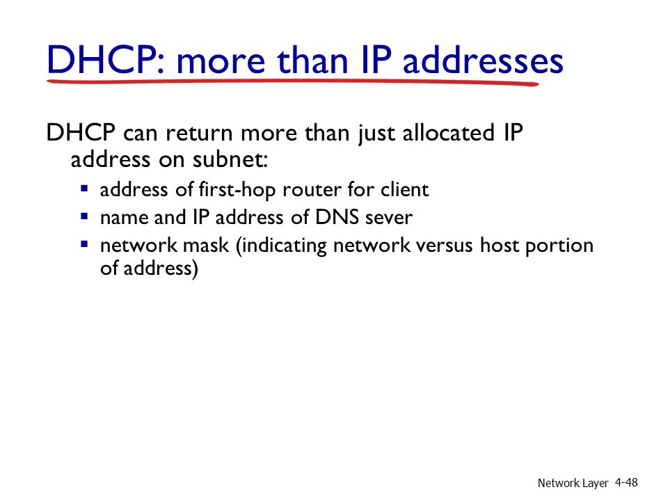 Network Layer 4-48 DHCP: more than IP addresses DHCP can return more than just allocated IP address on subnet:  address of first-hop router for client  name and IP address of DNS sever  network mask (indicating network versus host portion of address)