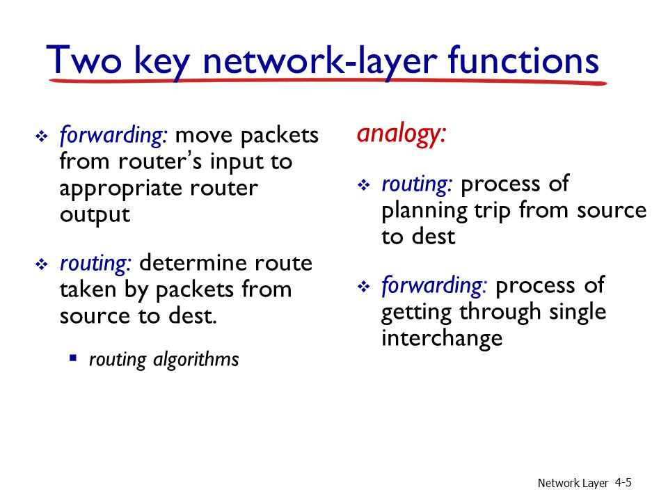Network Layer 4-5 Two key network-layer functions  forwarding: move packets from router's input to appropriate router output  routing: determine route taken by packets from source to dest.