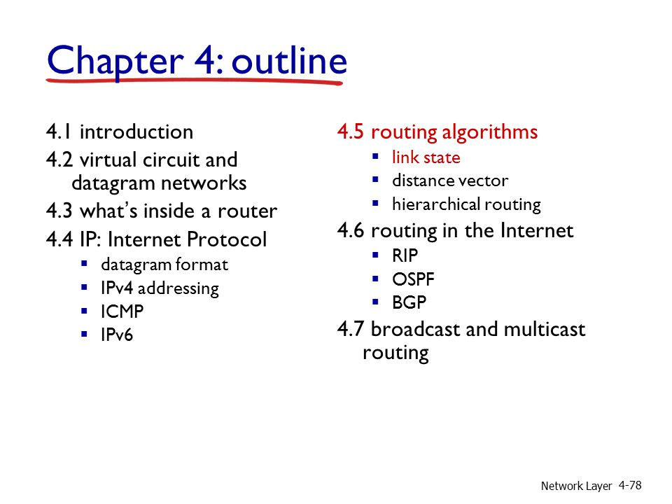Network Layer 4-78 4.1 introduction 4.2 virtual circuit and datagram networks 4.3 what's inside a router 4.4 IP: Internet Protocol  datagram format  IPv4 addressing  ICMP  IPv6 4.5 routing algorithms  link state  distance vector  hierarchical routing 4.6 routing in the Internet  RIP  OSPF  BGP 4.7 broadcast and multicast routing Chapter 4: outline