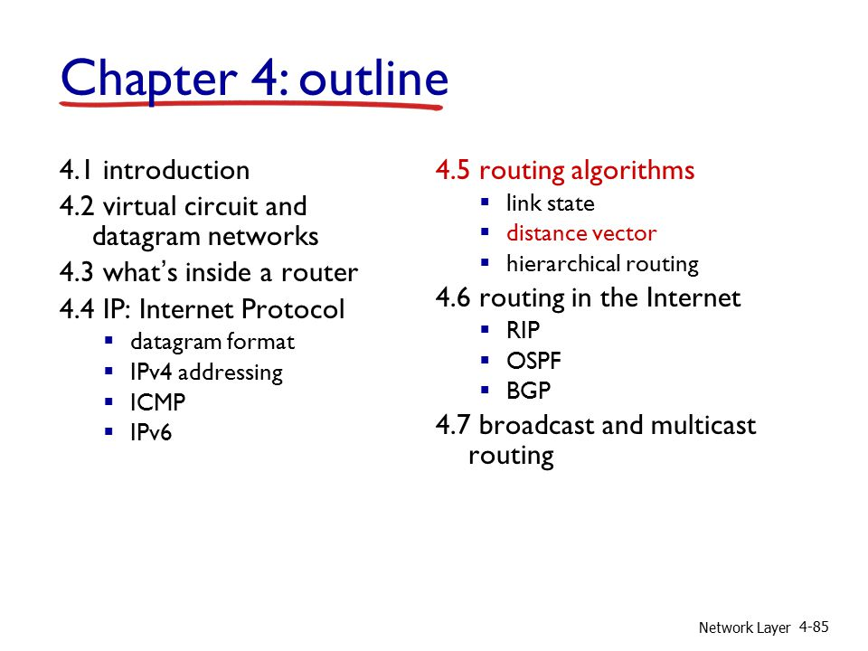 Network Layer 4-85 4.1 introduction 4.2 virtual circuit and datagram networks 4.3 what's inside a router 4.4 IP: Internet Protocol  datagram format  IPv4 addressing  ICMP  IPv6 4.5 routing algorithms  link state  distance vector  hierarchical routing 4.6 routing in the Internet  RIP  OSPF  BGP 4.7 broadcast and multicast routing Chapter 4: outline