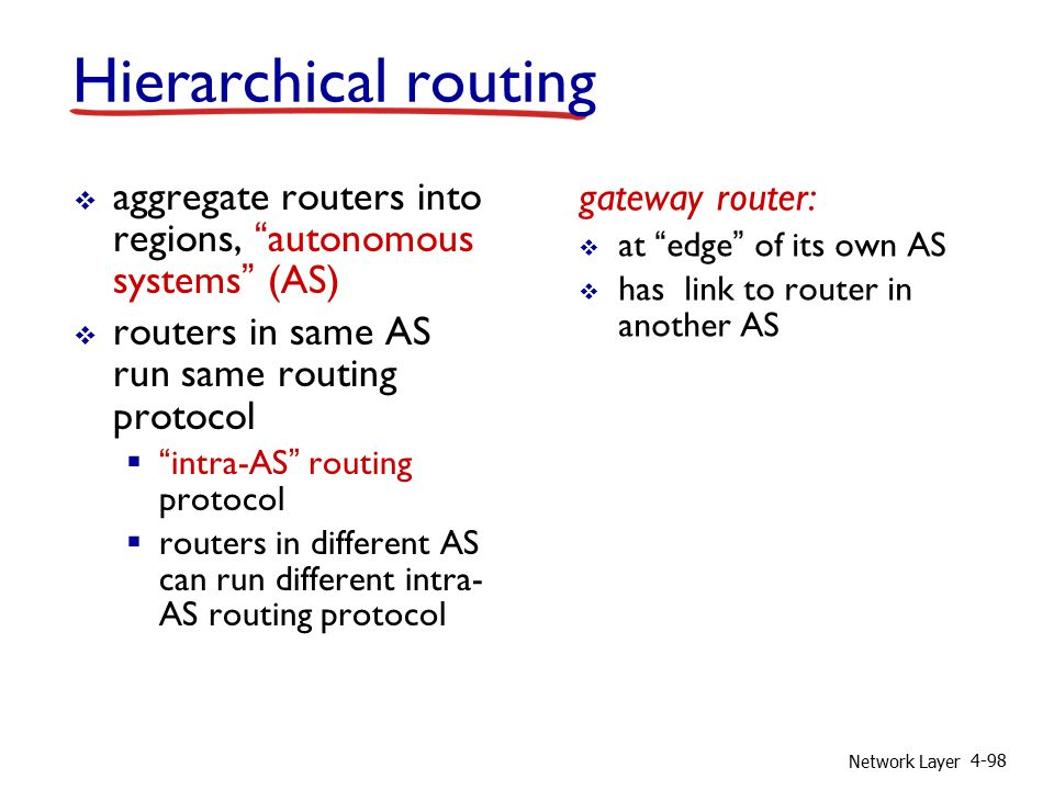 Network Layer 4-98  aggregate routers into regions, autonomous systems (AS)  routers in same AS run same routing protocol  intra-AS routing protocol  routers in different AS can run different intra- AS routing protocol gateway router:  at edge of its own AS  has link to router in another AS Hierarchical routing