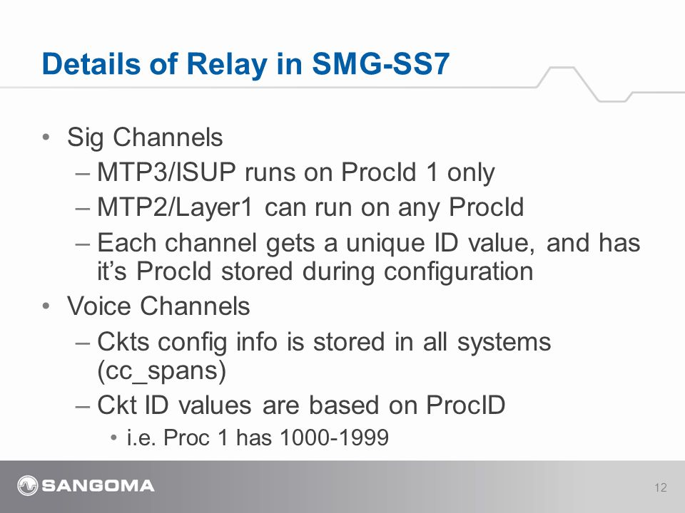 Sig Channels –MTP3/ISUP runs on ProcId 1 only –MTP2/Layer1 can run on any ProcId –Each channel gets a unique ID value, and has it's ProcId stored during configuration Voice Channels –Ckts config info is stored in all systems (cc_spans) –Ckt ID values are based on ProcID i.e.