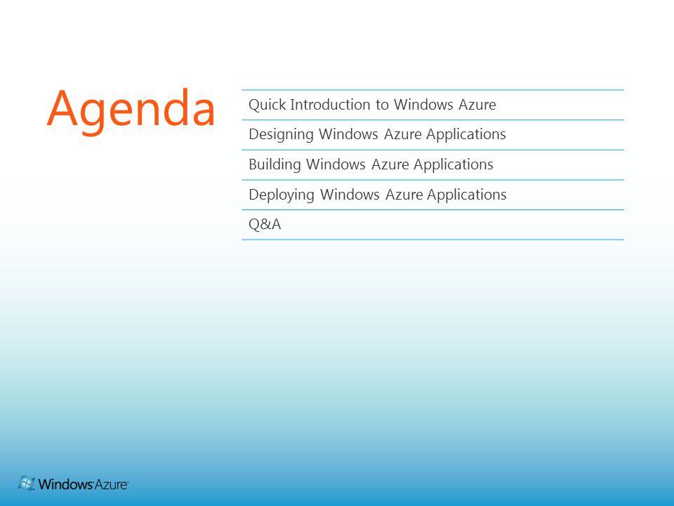 Agenda Quick Introduction to Windows Azure Designing Windows Azure Applications Building Windows Azure Applications Deploying Windows Azure Applications Q&A