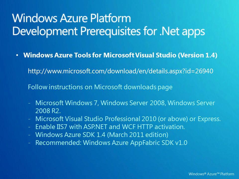 Windows ® Azure™ Platform Windows Azure Platform Development Prerequisites for.Net apps Windows Azure Tools for Microsoft Visual Studio (Version 1.4)