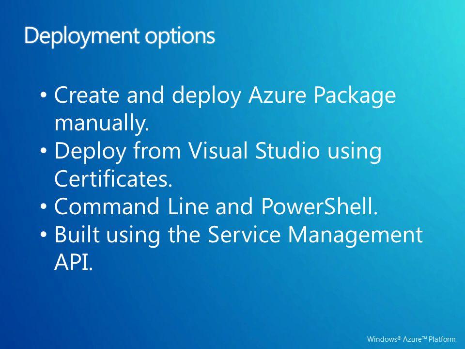 Windows ® Azure™ Platform Deployment optionsDeployment options Create and deploy Azure Package manually. Deploy from Visual Studio using Certificates.