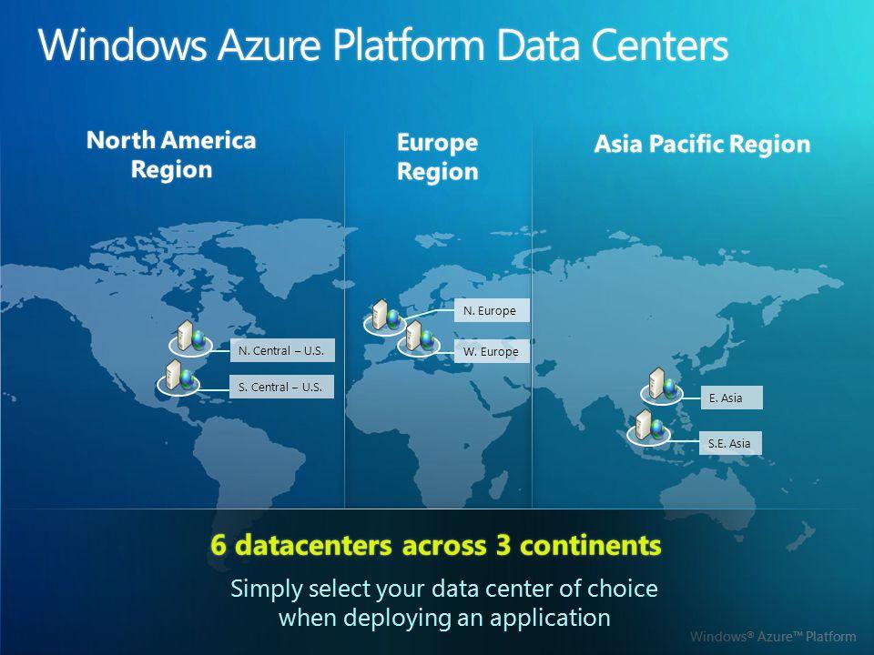 Windows ® Azure™ Platform S. Central – U.S.S. Central – U.S. W. EuropeW. Europe N. Central – U.S.N. Central – U.S. N. EuropeN. Europe S.E. AsiaS.E. As